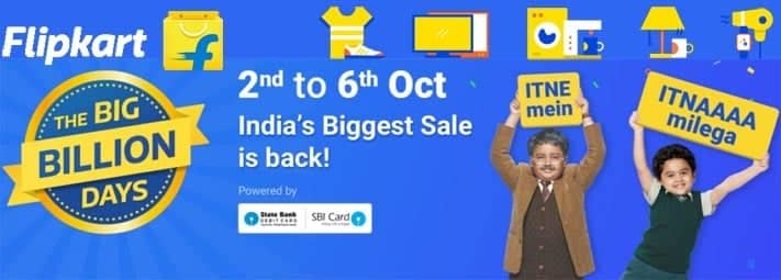 Flipkart Big Billion Days Sale is Back from 2 to 6 October 2016