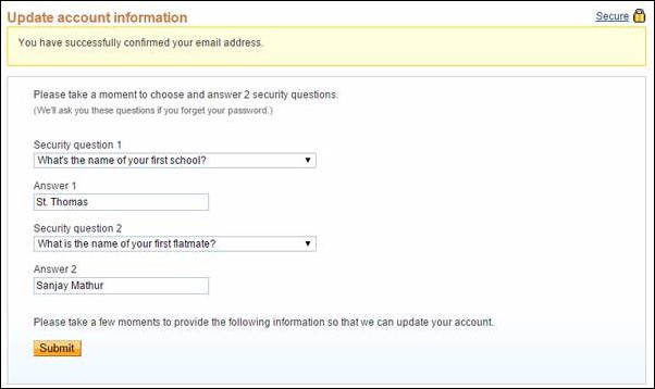 paypal security qustions