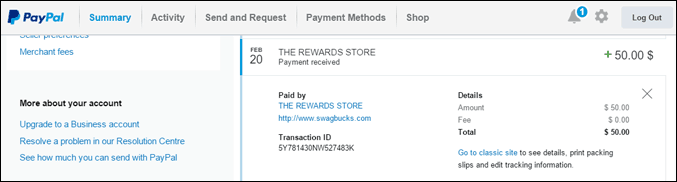 paypal sb payment