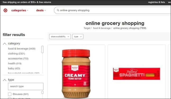 target online grocery
